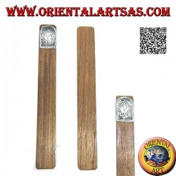 Segnalibro in legno di teak con piastra di alpacca o argentone decorata con sole (stretto)