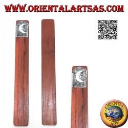 Segnalibro in legno di teak con piastra di alpacca o argentone decorata con luna (stretto)