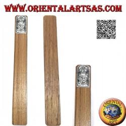 Segnalibro in legno di teak con piastra di alpacca o argentone decorata con girasoli (stretto)