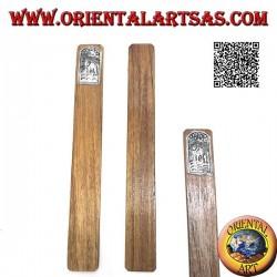 Marque-page en bois de teck avec plaque en maillechort ou en maillechort décoré d'éléphant avec trompe vers le haut (étroit)
