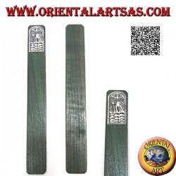 Segnalibro in legno di teak con piastra di alpacca o argentone decorata con elefante con proboscide in giù (stretto)
