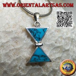 Silver pendant with two triangular turquoise placed mirrored