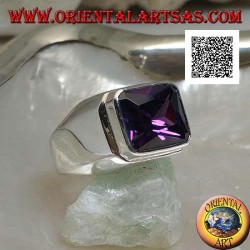 Silver ring with rectangular synthetic amethyst raised horizontally on a smooth setting