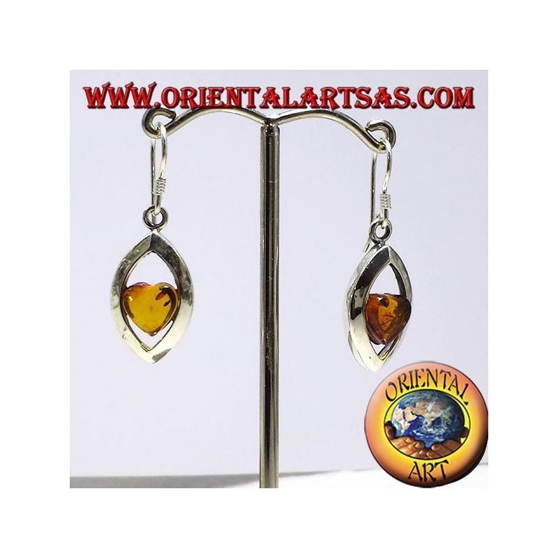 orecchini in argento con ambra cuore