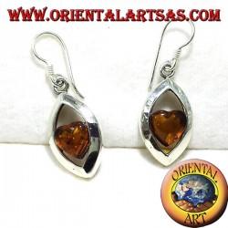 Ohrringe aus Silber mit Bernstein Herz