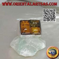 Bague rectangulaire en argent avec trois ambres puzzle rectangulaires