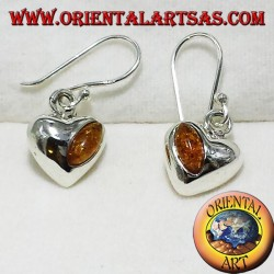 silver heart earrings with amber