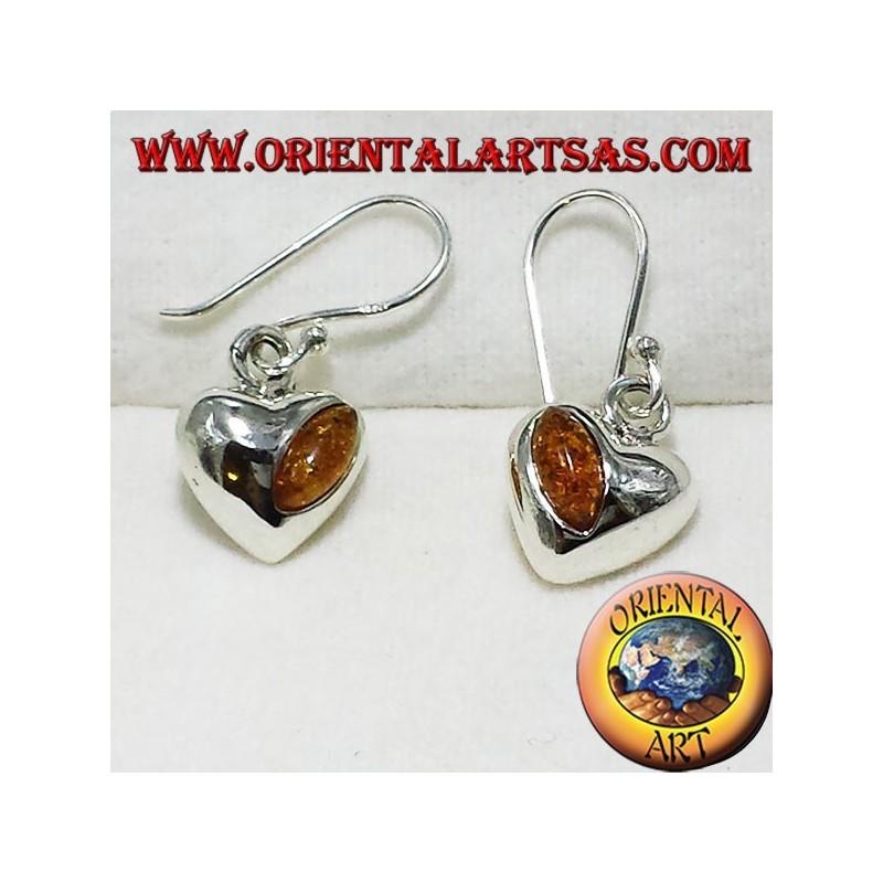 orecchini in argento cuore con ambra