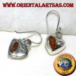 argent boucles d'oreilles coeur avec ambre