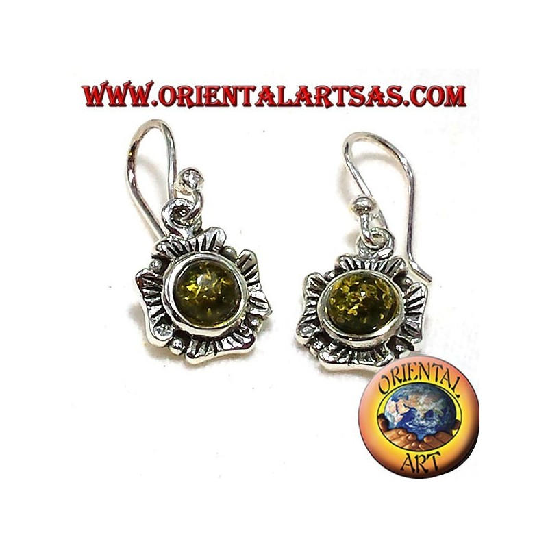 silver flower earrings with green amber