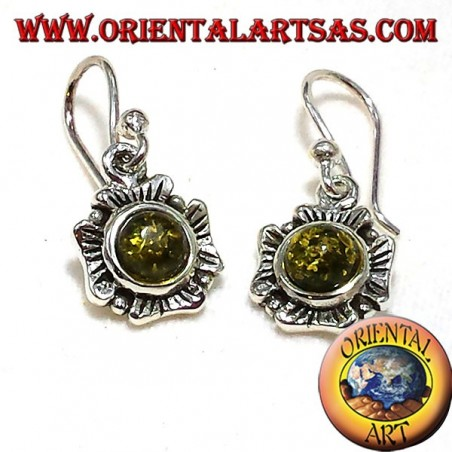 orecchini in argento fiore con ambra verde