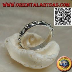 Silver ring with embossed balls (studded collar)