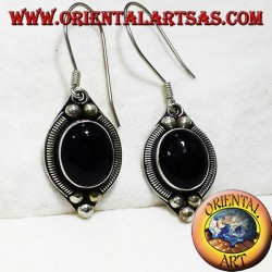silver earring with onyx Bali