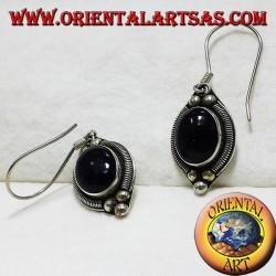 boucle d'oreille en argent avec onyx Bali