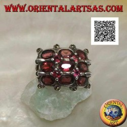 Silver grid ring with oval and round natural garnets and marcasite on the external intersections