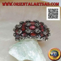 Rounded rectangular silver ring with 15 natural oval grid garnets and marcasite on the intersections