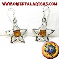 серебряные звезды серьги с янтарем