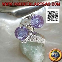 Two-arm rhodium silver ring with two faceted amethyst zircon spheres