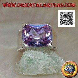Rhodium-plated silver ring with transverse oval clear amethyst-colored zircon set in a rectangle