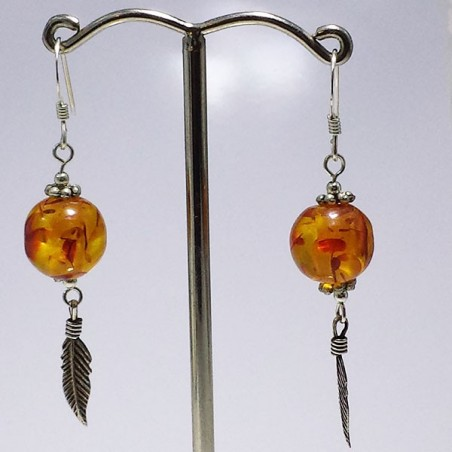 boucles d'oreille en argent avec ambre plume