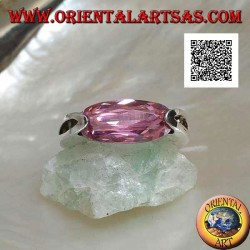 Rhodium silver ring with narrow oval pink faceted zircon hooked on the side