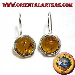 Amber earrings in silver