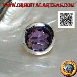 Rhodium-plated silver ring with faceted round cut amethyst-colored zircon and smooth edge
