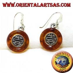orecchini in argento con dischetto in Ambra