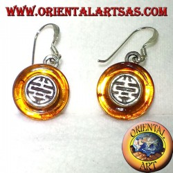 silver earrings with diskette in Amber