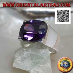 Rhodium silver ring with transverse oval dark amethyst colored zircon set in a rectangle