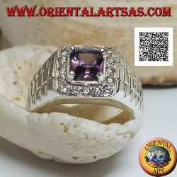 Ring in rhodium-plated silver in watch link with amethyst-colored zircon set surrounded by white zircons