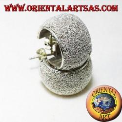 circle earrings in silver micro spheres