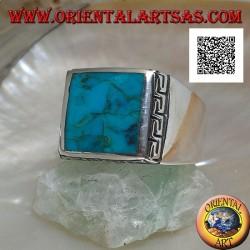 خاتم فضة مع مربع طبيعي فيروزي محاط بنقش يوناني (24)