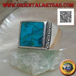 Silver ring with natural square turquoise surrounded by a Greek engraving (24)