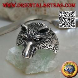 Anello in argento, testa di lupo artico o lupo delle nevi imponente (media)