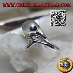 Anello in argento, delfino che insegue la sua cosa (Ouroboros)