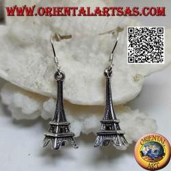 Silver drop earrings in the shape of the Eiffel tower (tour Eiffel de Paris)
