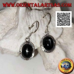 Silver earrings with oval cabochon Black Star (star diopside) and trio of balls on the four cardinal points
