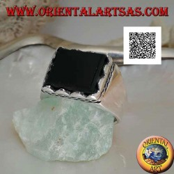 Silver ring with raised rectangular onyx framed and side cord