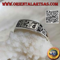 Silver ring with engraved hieroglyphs / mystical symbols