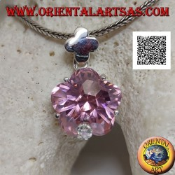 Ciondolo in argento rodiato con zircone rosa a forma di stella tondeggiante incastonato e zircone bianco piccolo