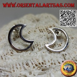 Silver lobe earrings in the shape of a perforated crescent