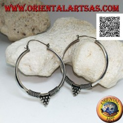 Silver earrings, circle worked with a pyramid of balls between intertwining 40 mm