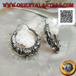 Silver earring, half-moon circle worked with ethnic decorations in relief 30 mm handmade