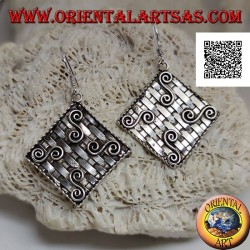 Silver pendant earrings with interwoven rhombus (straw style) with four Greek motifs