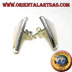 perle boucle d'oreille lobe trapèze argent