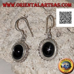 Silver earrings with cabochon oval Black Star (star diopside) and helical edge