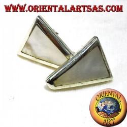 pendiente de la perla de plata lóbulo trapecio
