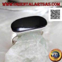 Silver ring with elongated oval onyx perforated flush with the edge on a smooth frame