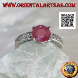 Silver ring with round natural ruby set with a side row of zircons